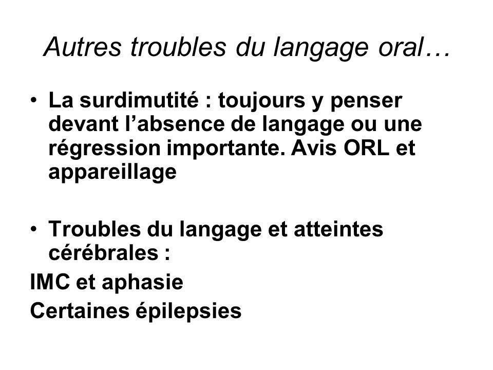 Autres troubles du langage oral… •La surdimutité : toujours y penser devant l'absence de langage ou une régression importante. Avis ORL et appareillag