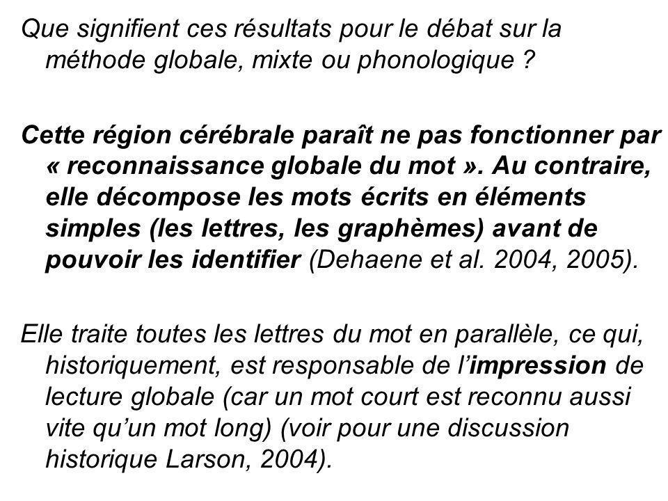 Que signifient ces résultats pour le débat sur la méthode globale, mixte ou phonologique ? Cette région cérébrale paraît ne pas fonctionner par « reco