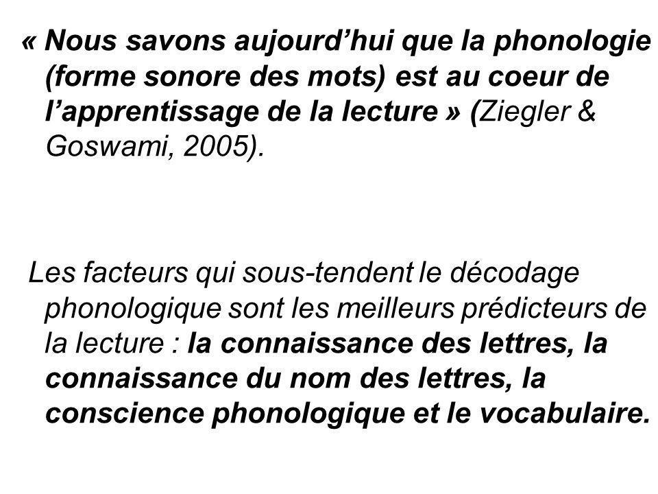 « Nous savons aujourd'hui que la phonologie (forme sonore des mots) est au coeur de l'apprentissage de la lecture » (Ziegler & Goswami, 2005). Les fac