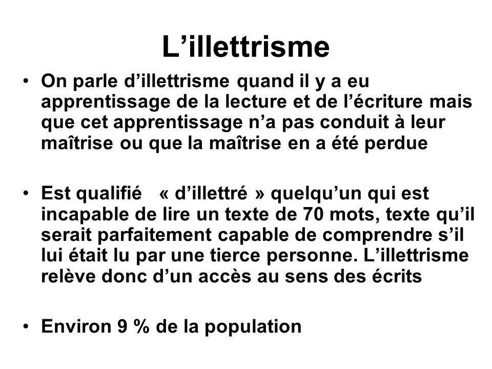 L'illettrisme •On parle d'illettrisme quand il y a eu apprentissage de la lecture et de l'écriture mais que cet apprentissage n'a pas conduit à leur m