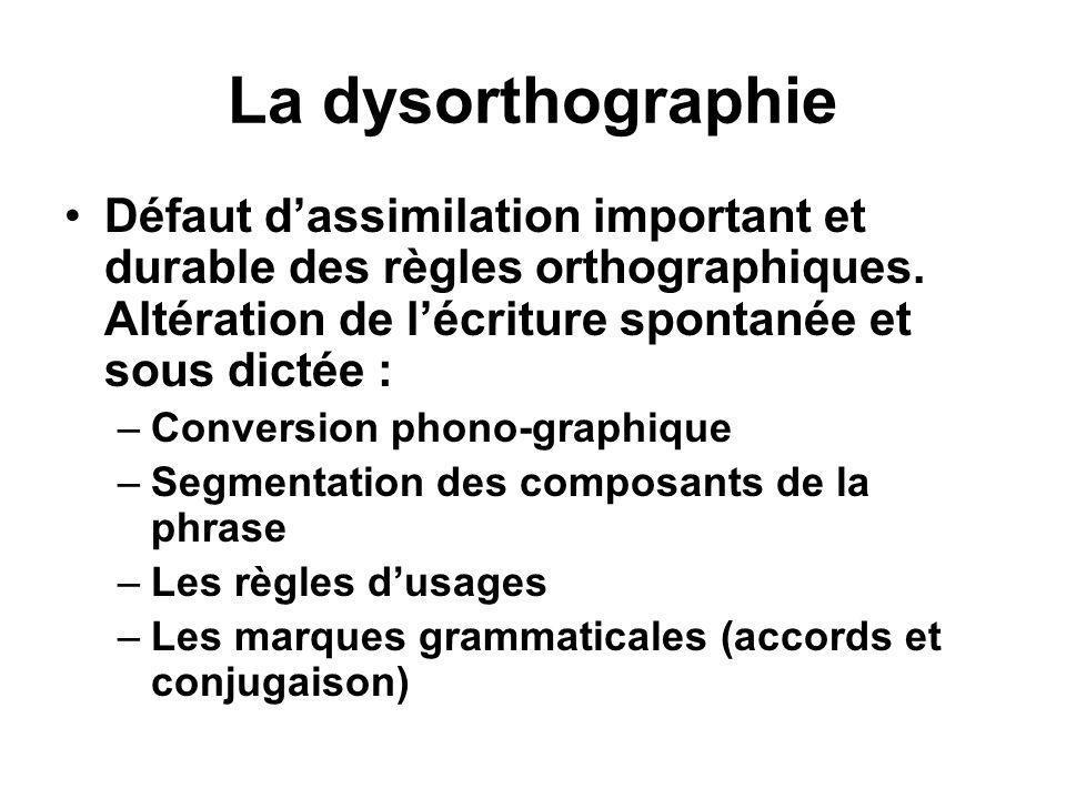 La dysorthographie •Défaut d'assimilation important et durable des règles orthographiques. Altération de l'écriture spontanée et sous dictée : –Conver