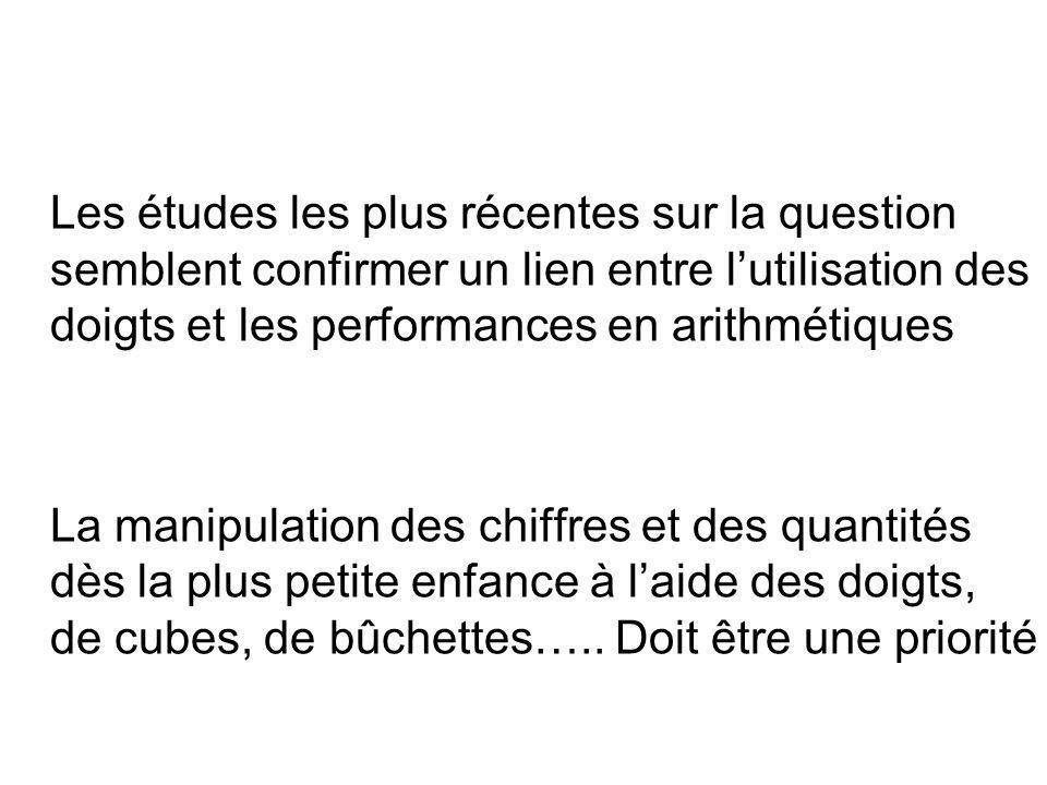 Les études les plus récentes sur la question semblent confirmer un lien entre l'utilisation des doigts et les performances en arithmétiques La manipul