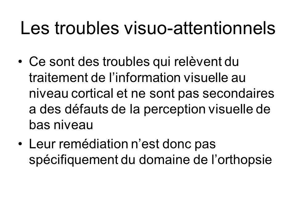 Les troubles visuo-attentionnels •Ce sont des troubles qui relèvent du traitement de l'information visuelle au niveau cortical et ne sont pas secondai