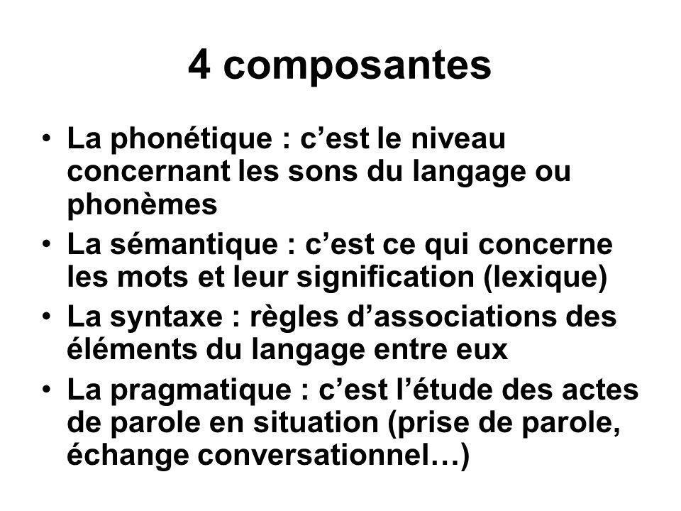 4 composantes •La phonétique : c'est le niveau concernant les sons du langage ou phonèmes •La sémantique : c'est ce qui concerne les mots et leur sign