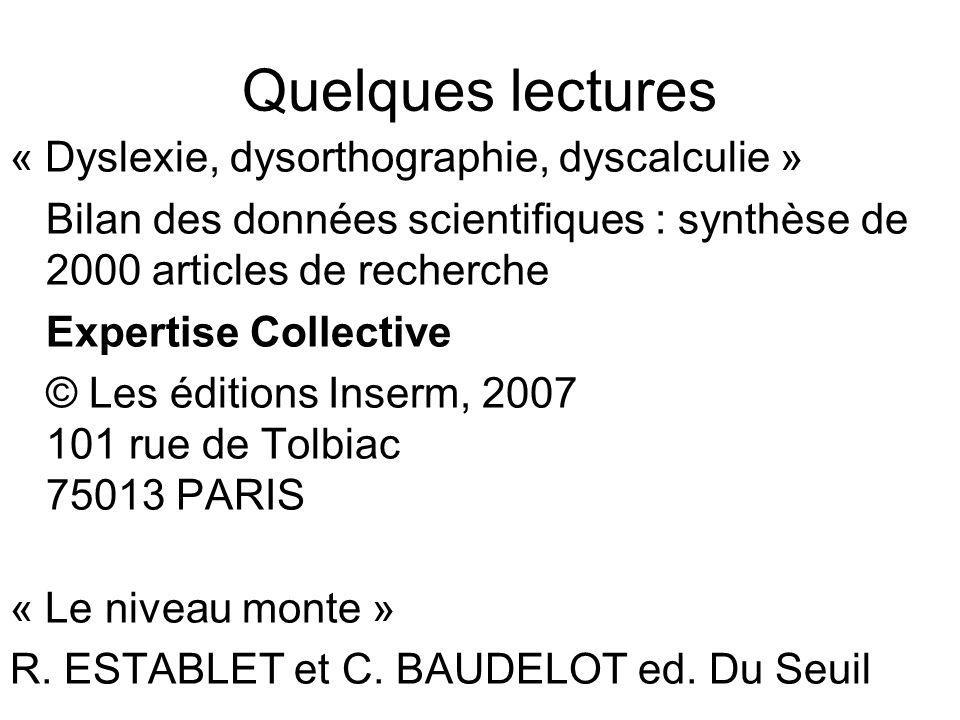 Quelques lectures « Dyslexie, dysorthographie, dyscalculie » Bilan des données scientifiques : synthèse de 2000 articles de recherche Expertise Collec