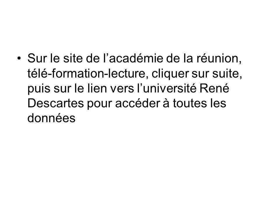 •Sur le site de l'académie de la réunion, télé-formation-lecture, cliquer sur suite, puis sur le lien vers l'université René Descartes pour accéder à