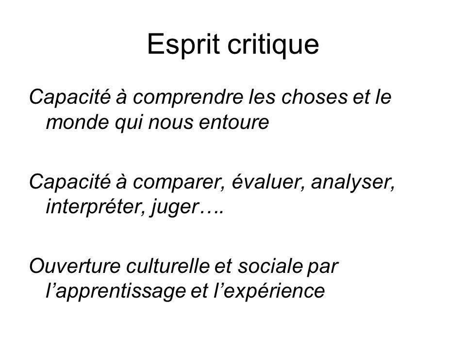 Esprit critique Capacité à comprendre les choses et le monde qui nous entoure Capacité à comparer, évaluer, analyser, interpréter, juger…. Ouverture c