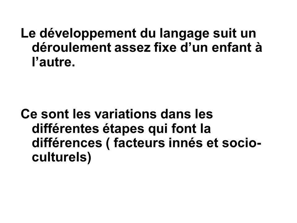 Le développement du langage suit un déroulement assez fixe d'un enfant à l'autre. Ce sont les variations dans les différentes étapes qui font la diffé