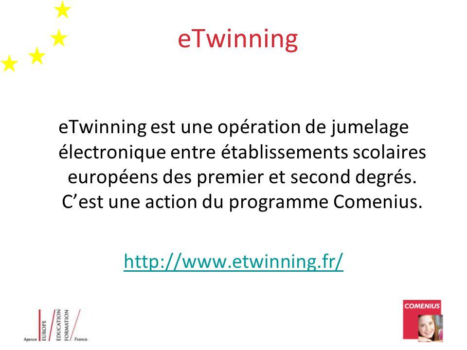 eTwinning eTwinning est une opération de jumelage électronique entre établissements scolaires européens des premier et second degrés. C'est une action