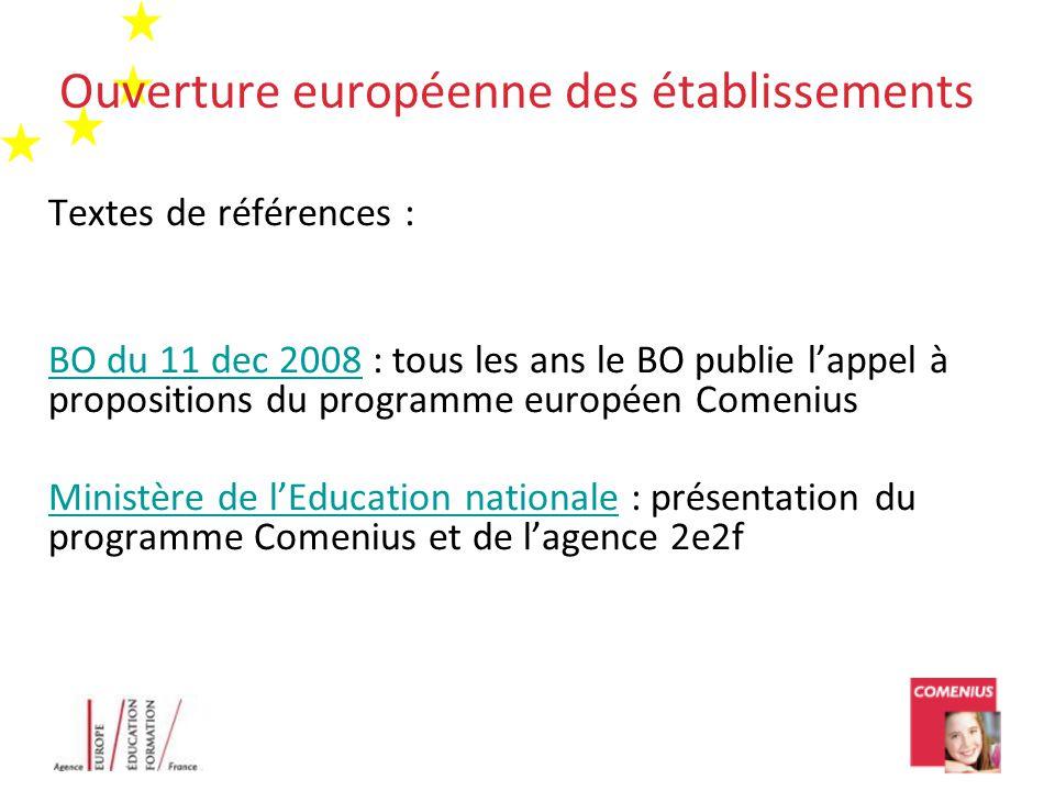Ouverture européenne des établissements Textes de références : BO du 11 dec 2008BO du 11 dec 2008 : tous les ans le BO publie l'appel à propositions d