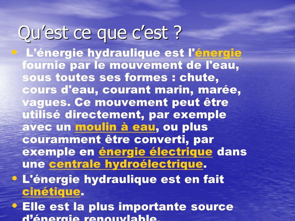 Qu'est ce que c'est ? • • L'énergie hydraulique est l'énergie fournie par le mouvement de l'eau, sous toutes ses formes : chute, cours d'eau, courant