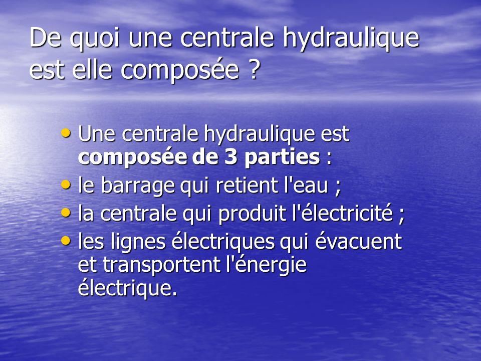 De quoi une centrale hydraulique est elle composée ? •U•U•U•Une centrale hydraulique est composée de 3 parties : •l•l•l•le barrage qui retient l'eau ;
