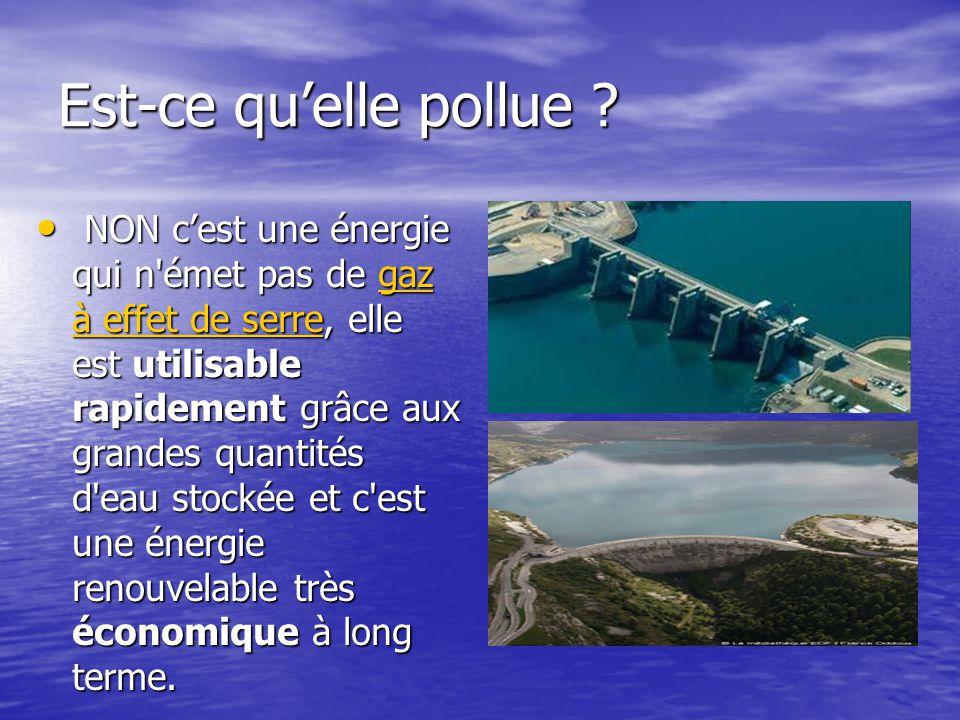 Est-ce qu'elle pollue ? • NON c'est une énergie qui n'émet pas de gaz à effet de serre, elle est utilisable rapidement grâce aux grandes quantités d'e