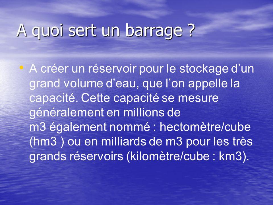A quoi sert un barrage ? • • A créer un réservoir pour le stockage d'un grand volume d'eau, que l'on appelle la capacité. Cette capacité se mesure gén