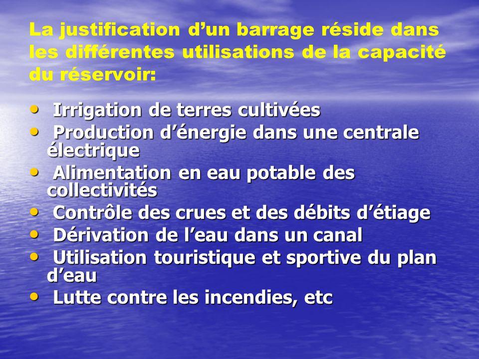 La justification d'un barrage réside dans les différentes utilisations de la capacité du réservoir: • Irrigation de terres cultivées • Production d'én
