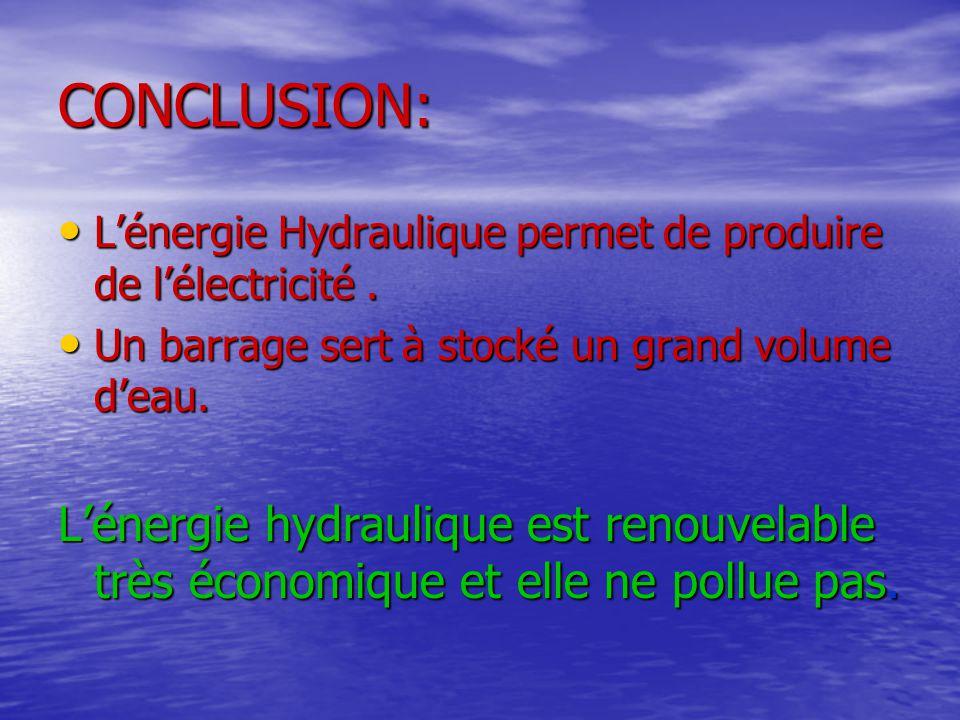 CONCLUSION: •L•L•L•L'énergie Hydraulique permet de produire de l'électricité. •U•U•U•Un barrage sert à stocké un grand volume d'eau. L'énergie hydraul