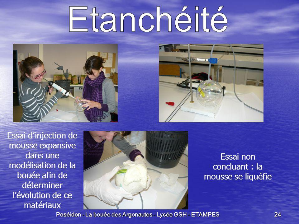 Poséidon - La bouée des Argonautes - Lycée GSH - ETAMPES 24 Essai d'injection de mousse expansive dans une modélisation de la bouée afin de déterminer l'évolution de ce matériaux Essai non concluant : la mousse se liquéfie