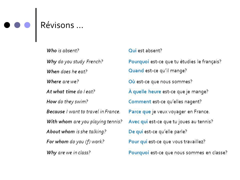 Qu'est-ce que.To ask what people are doing … Qu'est-ce que + subject + verb + ….
