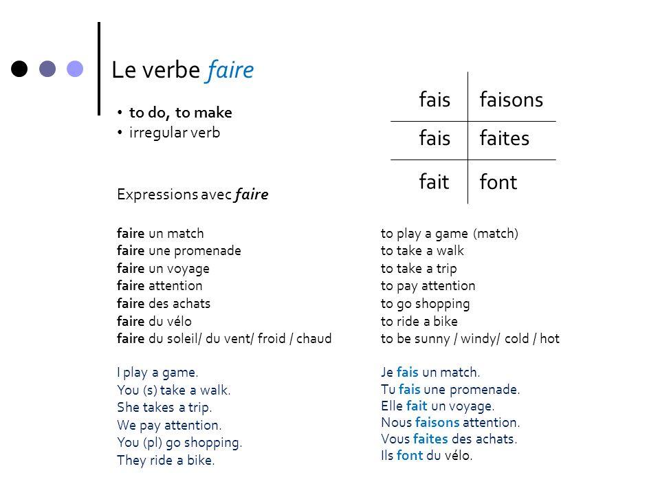Le verbe faire • to do, to make • irregular verb fais fait faisons faites font Expressions avec faire faire un matchto play a game (match) faire une p