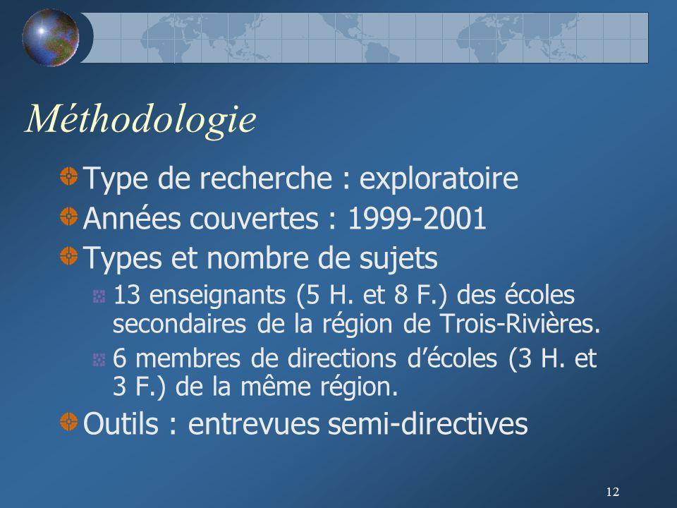 12 Méthodologie Type de recherche : exploratoire Années couvertes : 1999-2001 Types et nombre de sujets 13 enseignants (5 H.