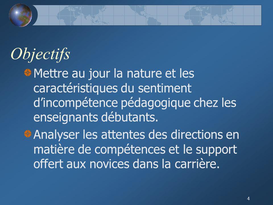 4 Objectifs Mettre au jour la nature et les caractéristiques du sentiment d'incompétence pédagogique chez les enseignants débutants.