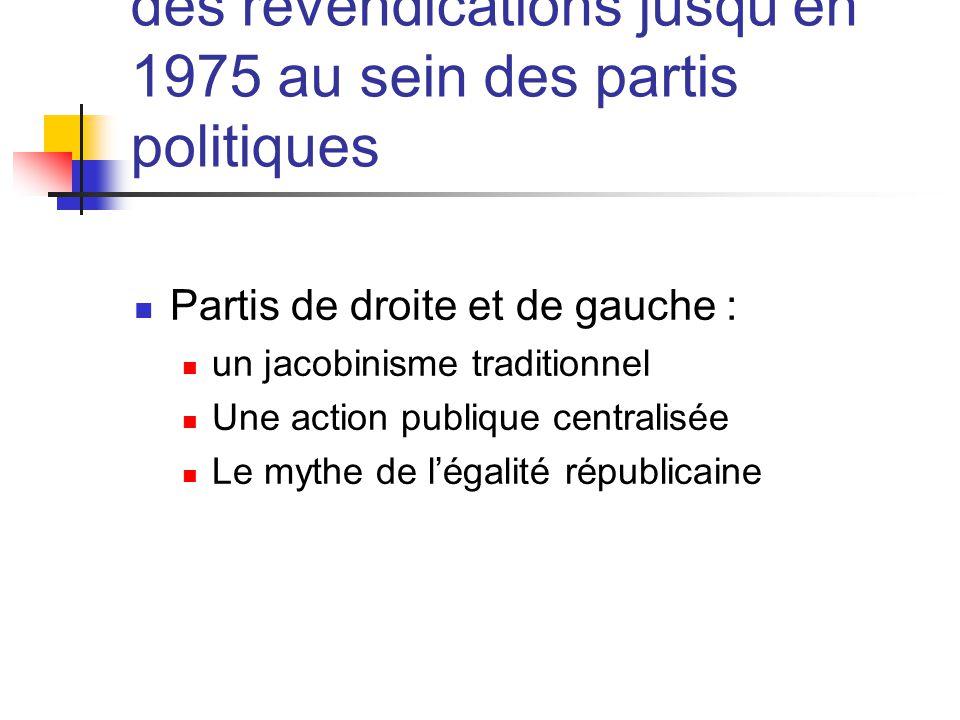 4 - La non prise en compte des revendications jusqu'en 1975 au sein des partis politiques  Partis de droite et de gauche :  un jacobinisme traditionnel  Une action publique centralisée  Le mythe de l'égalité républicaine