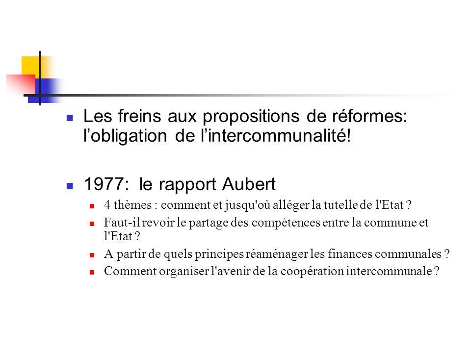  Les freins aux propositions de réformes: l'obligation de l'intercommunalité!  1977: le rapport Aubert  4 thèmes : comment et jusqu'où alléger la t