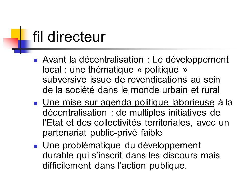 fil directeur  Avant la décentralisation : Le développement local : une thématique « politique » subversive issue de revendications au sein de la soc