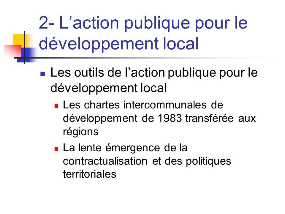 2- L'action publique pour le développement local  Les outils de l'action publique pour le développement local  Les chartes intercommunales de dévelo