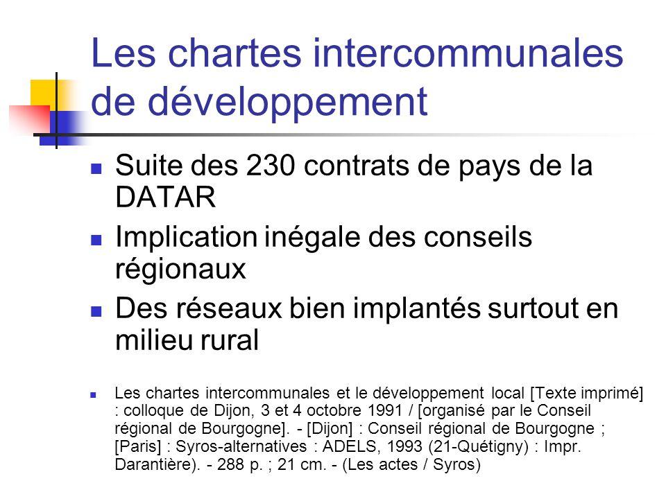 Les chartes intercommunales de développement  Suite des 230 contrats de pays de la DATAR  Implication inégale des conseils régionaux  Des réseaux b