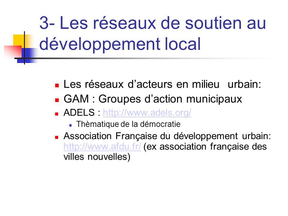 3- Les réseaux de soutien au développement local  Les réseaux d'acteurs en milieu urbain:  GAM : Groupes d'action municipaux  ADELS : http://www.adels.org/http://www.adels.org/  Thèmatique de la démocratie  Association Française du développement urbain: http://www.afdu.fr/ (ex association française des villes nouvelles) http://www.afdu.fr/