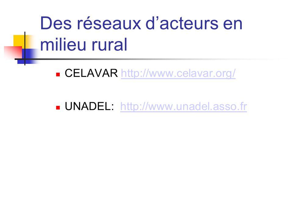 Des réseaux d'acteurs en milieu rural  CELAVAR http://www.celavar.org/http://www.celavar.org/  UNADEL: http://www.unadel.asso.frhttp://www.unadel.asso.fr