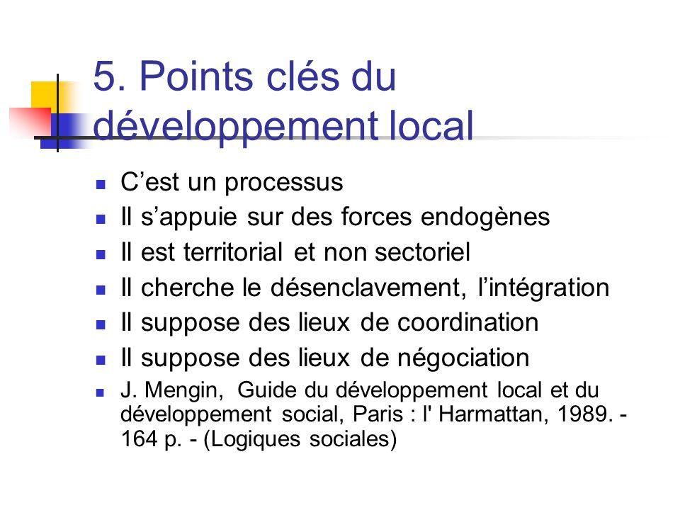 5. Points clés du développement local  C'est un processus  Il s'appuie sur des forces endogènes  Il est territorial et non sectoriel  Il cherche l