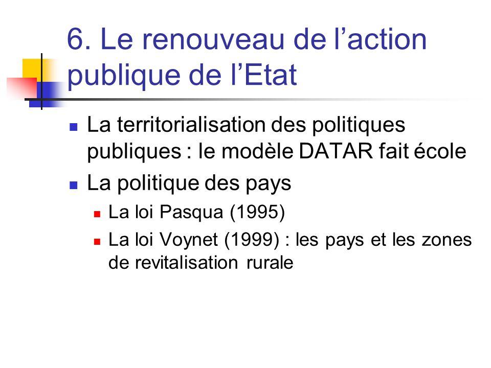 6. Le renouveau de l'action publique de l'Etat  La territorialisation des politiques publiques : le modèle DATAR fait école  La politique des pays 