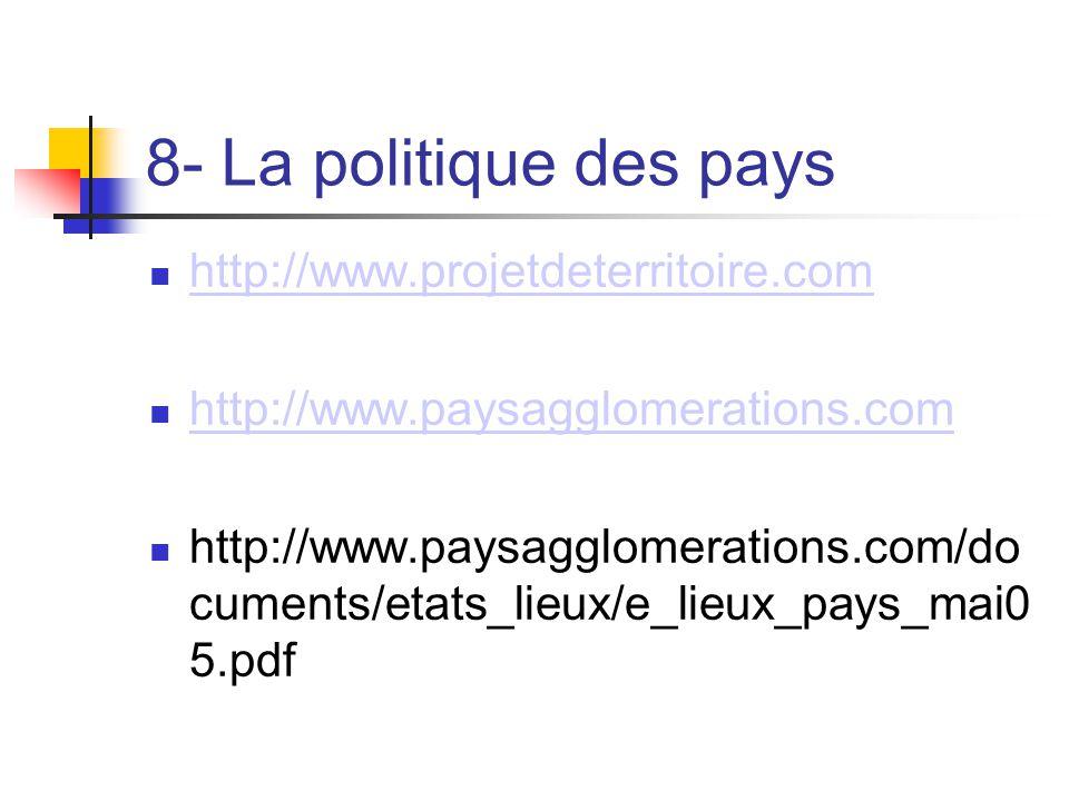8- La politique des pays  http://www.projetdeterritoire.com http://www.projetdeterritoire.com  http://www.paysagglomerations.com http://www.paysaggl