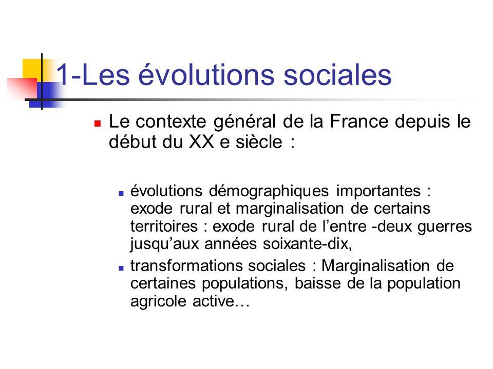 1-Les évolutions sociales  Le contexte général de la France depuis le début du XX e siècle :  évolutions démographiques importantes : exode rural et