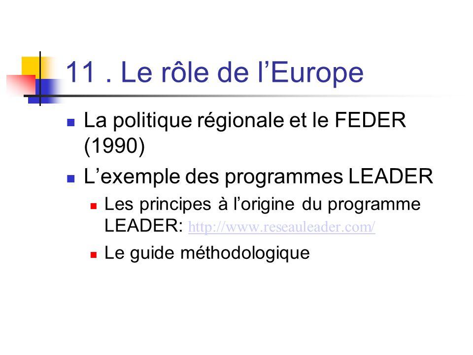 11. Le rôle de l'Europe  La politique régionale et le FEDER (1990)  L'exemple des programmes LEADER  Les principes à l'origine du programme LEADER: