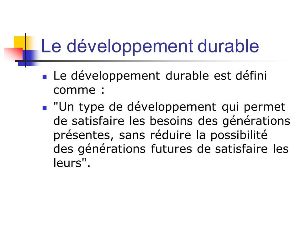 Le développement durable  Le développement durable est défini comme :  Un type de développement qui permet de satisfaire les besoins des générations présentes, sans réduire la possibilité des générations futures de satisfaire les leurs .