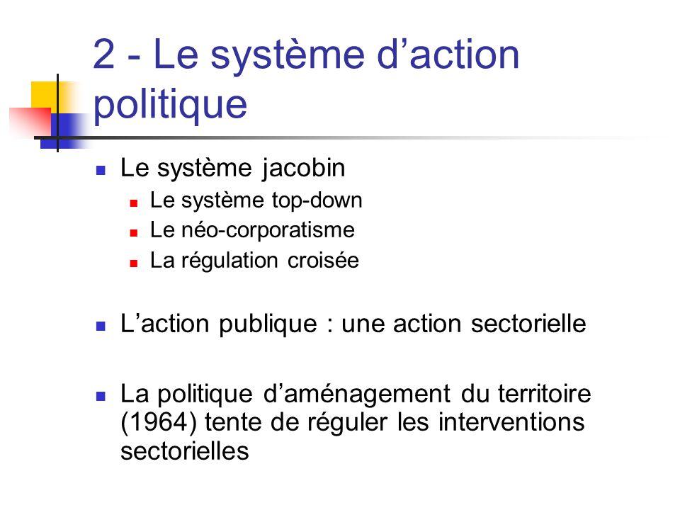  Le système jacobin  Le système top-down  Le néo-corporatisme  La régulation croisée  L'action publique : une action sectorielle  La politique d