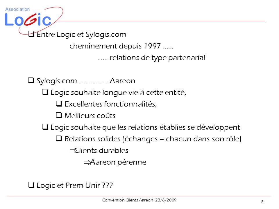  Entre Logic et Sylogis.com cheminement depuis 1997 …… …… relations de type partenarial  Sylogis.com ……………..