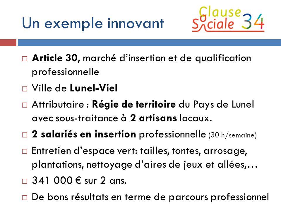 Un exemple innovant  Article 30, marché d'insertion et de qualification professionnelle  Ville de Lunel-Viel  Attributaire : Régie de territoire du