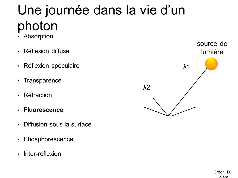 • Absorption • Réflexion diffuse • Réflexion spéculaire • Transparence • Réfraction • Fluorescence • Diffusion sous la surface • Phosphorescence • Inter-réflexion Une journée dans la vie d'un photon λ1 λ2 source de lumière Crédit: D.
