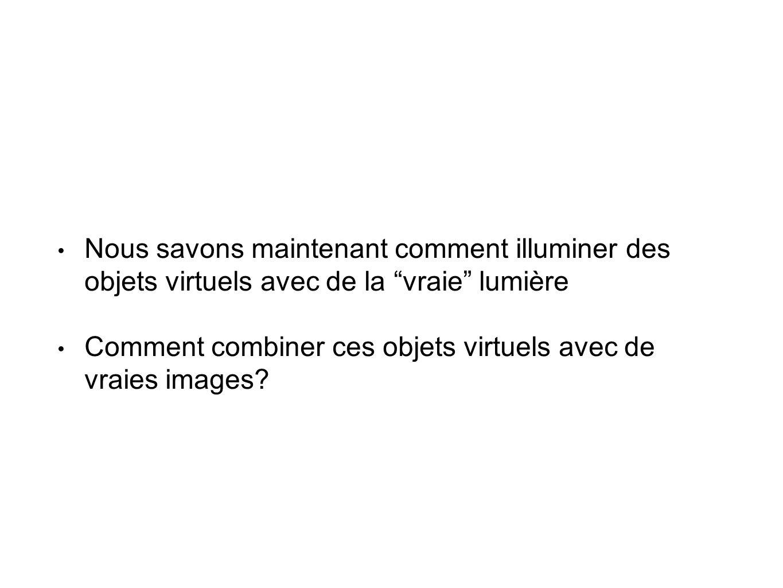 • Nous savons maintenant comment illuminer des objets virtuels avec de la vraie lumière • Comment combiner ces objets virtuels avec de vraies images