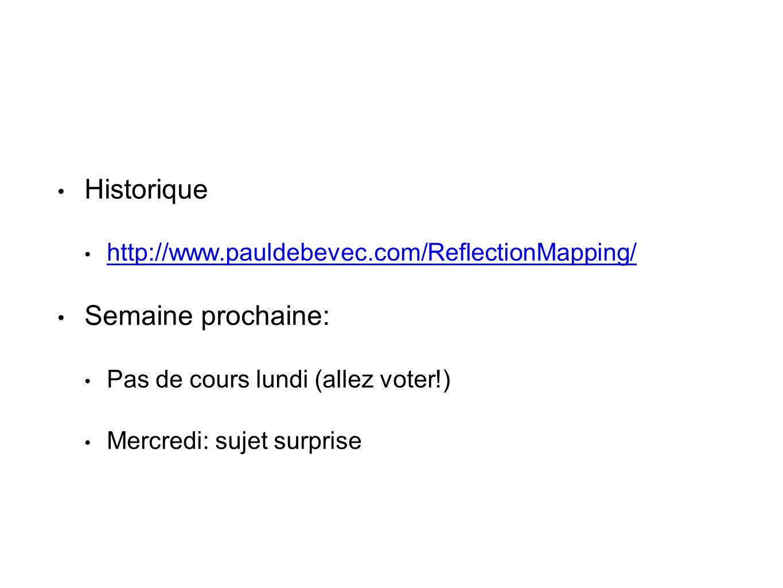 • Historique • http://www.pauldebevec.com/ReflectionMapping/ http://www.pauldebevec.com/ReflectionMapping/ • Semaine prochaine: • Pas de cours lundi (allez voter!) • Mercredi: sujet surprise