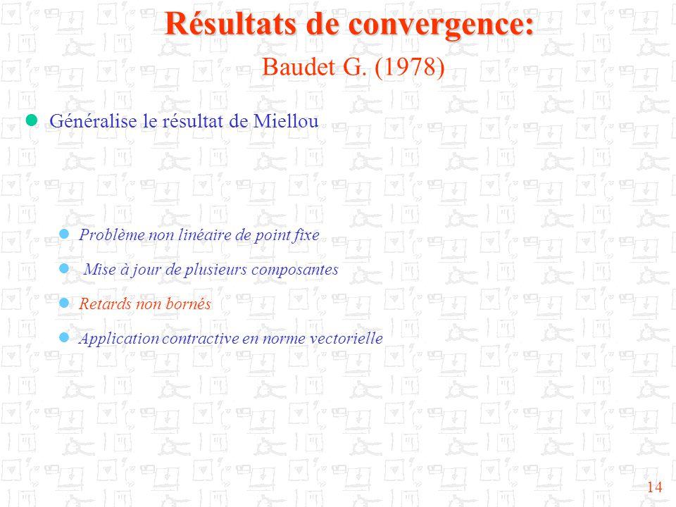 14 Résultats de convergence: Résultats de convergence: Baudet G. (1978)  Généralise le résultat de Miellou  Problème non linéaire de point fixe  Mi