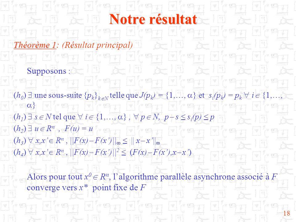 18 Notre résultat Théorème 1 Théorème 1: (Résultat principal) Supposons : (h 0 )  une sous-suite {p k } k  N telle que J(p k ) = {1,…,  } et s i (p
