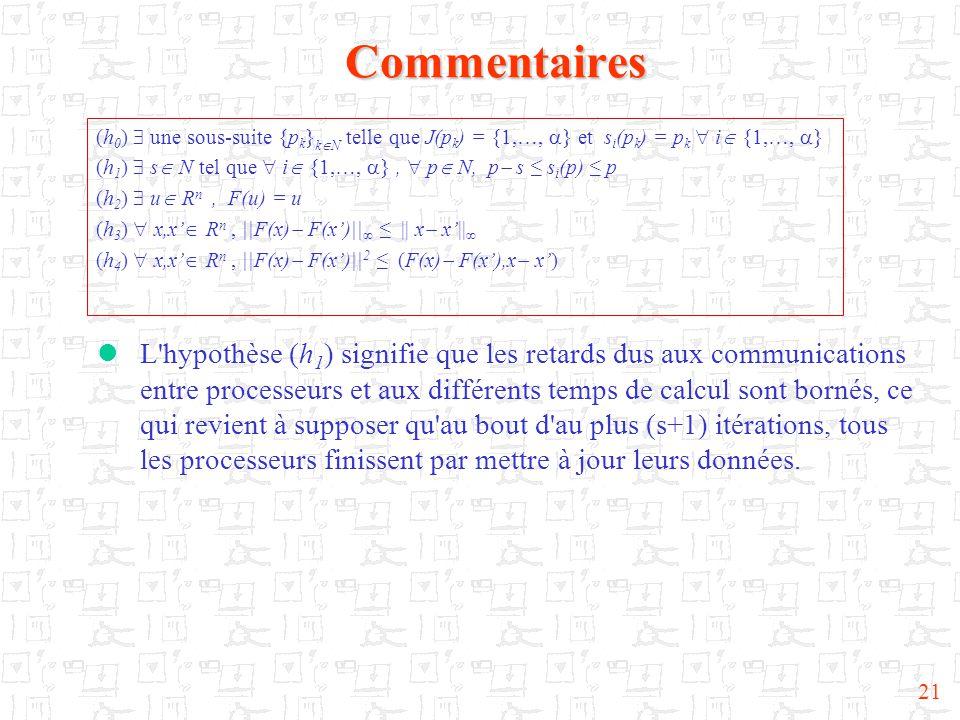 21Commentaires  L'hypothèse (h 1 ) signifie que les retards dus aux communications entre processeurs et aux différents temps de calcul sont bornés, c