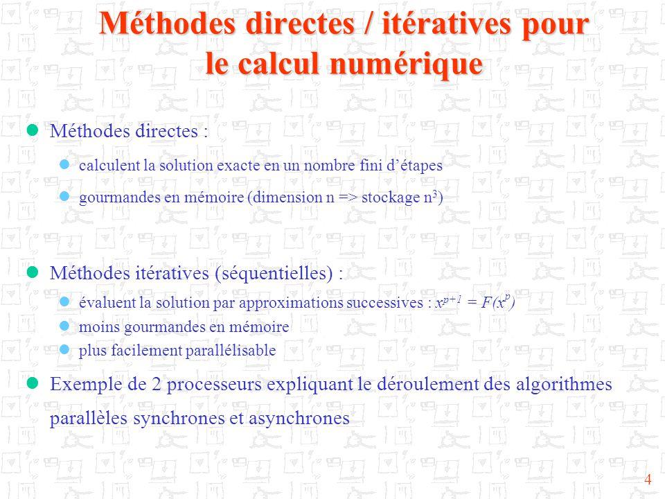 4 Méthodes directes / itératives pour le calcul numérique  Méthodes directes :  calculent la solution exacte en un nombre fini d'étapes  gourmandes