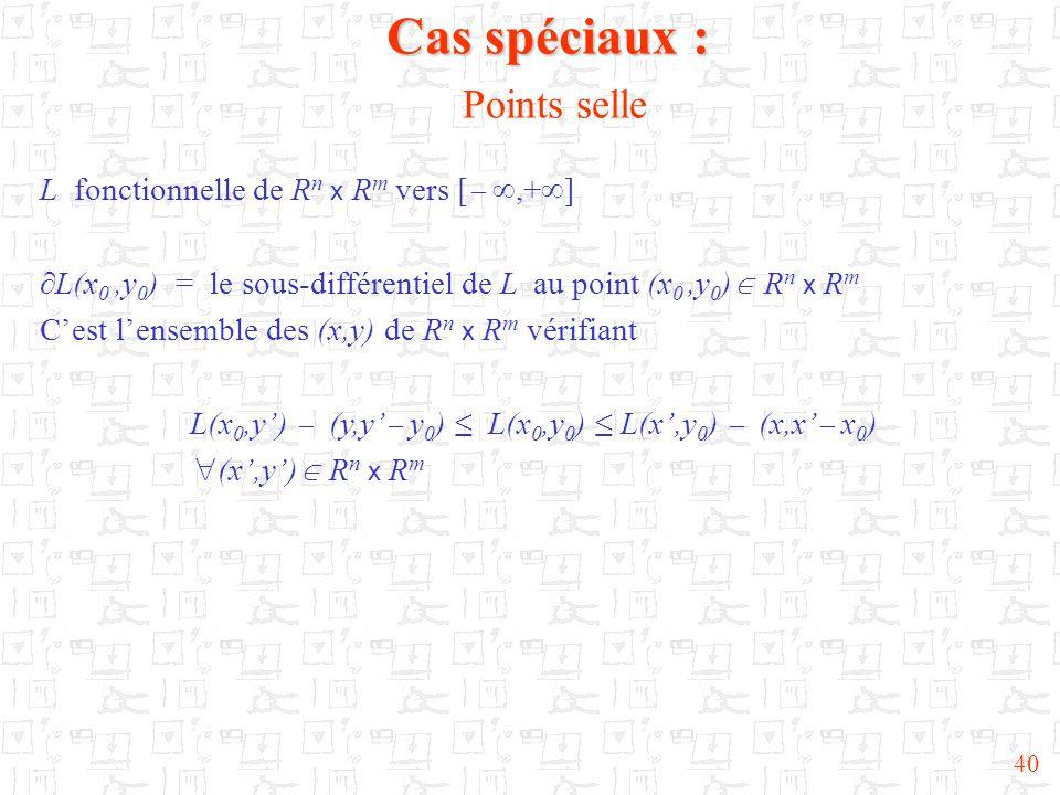 40 Cas spéciaux : Cas spéciaux : Points selle L fonctionnelle de R n x R m vers [  ,+  ]  L(x 0,y 0 ) = le sous-différentiel de L au point (x 0,y 0 )  R n x R m C'est l'ensemble des (x,y) de R n x R m vérifiant L(x 0,y')  (y,y'  y 0 ) ≤ L(x 0,y 0 ) ≤ L(x',y 0 )  (x,x'  x 0 )  (x',y')  R n x R m