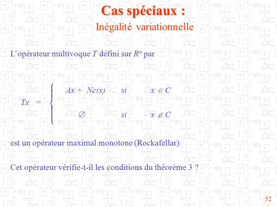 52 Cas spéciaux : Cas spéciaux : Inégalité variationnelle L'opérateur multivoque T défini sur R n par Ax + Nc(x)si x  C Tx =  si x  C est un opérateur maximal monotone (Rockafellar) Cet opérateur vérifie-t-il les conditions du théorème 3
